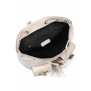 Women's White Bamboo Detail Backpack